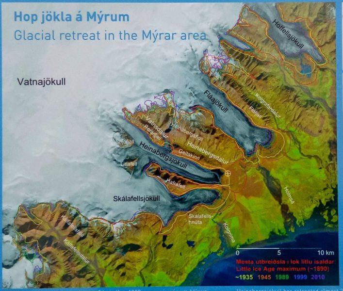 Carte du retrait du Vatnajökull