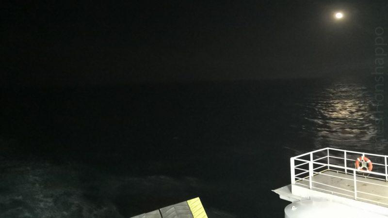 La mer est calme, ce qui n'empêchera pas certains de vomir tripes et boyaux toute la nuit.